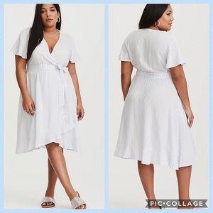TORRID•striped faux wrap dress
